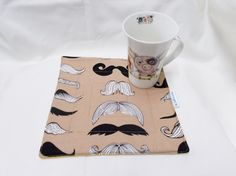 Mustache fabric Mug Rug, Cup cozy, Drinks cosy Coaster, quilted snack mat, Trending now, table ware quilting gifts, hand made, for him,