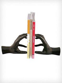 Sculptural Black Hands Bookends