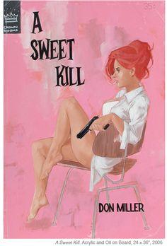 A Sweet Kill by Don Mikller, pulp novel cover by Phil Noto.  Girl woman dame gun pistol bathrobe danger