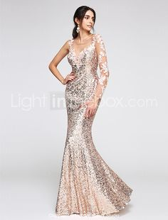 2017 TS Couture® Formal Evening Dress Trumpet / Mermaid Scoop Floor-length Sequined with Appliques / Sequins 2017 - $104.49