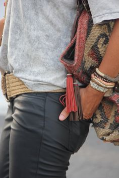 Winter look, boho, clutch bag, Aztec, leather black pains, casual, fashion