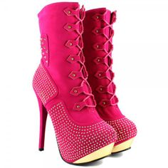 ... Sexy High Heel Platform Diamante Spike Stud Ankle Calf Boots Fushia