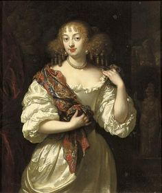 1669 Lady, said to be Barbara Villiers, Duchess of Cleveland, three-quarter-length, in a silver dress by Caspar Netscher