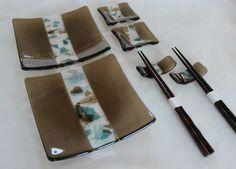 FUSED GLASS SUSHI Set  Bronze Aqua Fused by SunflowerGlassworks