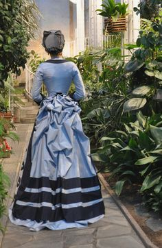 Before the Automobile: 1874 Day Dress, Early Bustle era All hand sewn, including the hat. Historical Costume, Historical Clothing, Vintage Gowns, Vintage Outfits, Vintage Clothing, Patterns Of Fashion, Bustle Dress, Victorian Fashion, Victorian Dresses