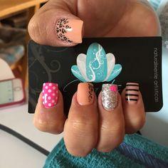 Acrylic nails, nails art, nails, pink nails