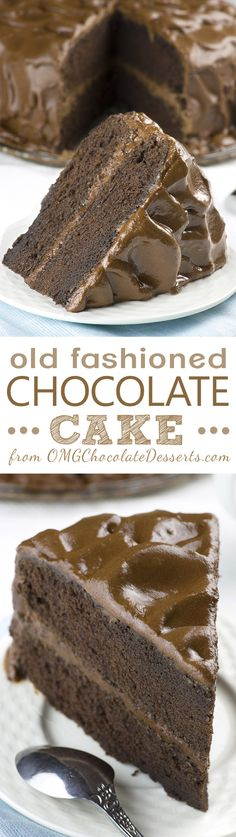 Old fashioned Chocolate Cake is dangerously delicious, rich and decadent cake… (Chocolate Desserts) Matilda Chocolate Cake, Too Much Chocolate Cake, Tasty Chocolate Cake, Chocolate Desserts, Chocolate Smoothies, Chocolate Mouse, Chocolate Shakeology, Chocolate Crinkles, Chocolate Drizzle