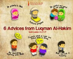 Islam made easy. Advices from Luqman Al-Hakim What Is Islam, Islamic Cartoon, Muslim Quotes, Islamic Quotes, Allah Islam, Duaa Islam, Islam Muslim, Islam For Kids, Islamic Studies