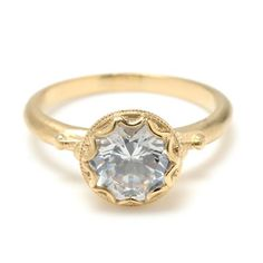 LOVE THIS- Megan Thorne Bezel-Set Diamond Engagement Ring from Greenwich Jewelers. Love the different diamond shape. Miley Cyrus Engagement Ring, Celebrity Engagement Rings, Yellow Engagement Rings, Best Engagement Rings, Vintage Engagement Rings, Solitaire Engagement, Bezel Set Ring, Yellow Gold Rings, Bling