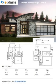 This modern design floor plan is 3641 sq ft and has 5 bedrooms and has bathrooms. Modern House Facades, Modern House Plans, Modern House Design, Building Department, Facade House, New Homes, Floor Plans, How To Plan, Architecture