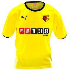 Watford FC Home Shirt 2014/2015 Puma Team Shirts, Sports Shirts, Championship League, Watford Fc, Football Kits, Hobbies, Yellow, Black, Tops
