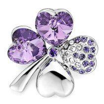 Pugster Four-Leaf Heart Clover February Birthstone Amethyst Purple Swarovski Crystal Diamond Accent Brooches Pins