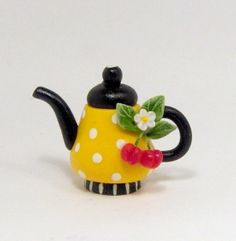 1/12 scale DOLLHOUSE MINIATURE YELLOW TEAPOT CHERRIES BY by 64tnt