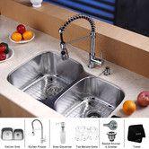 """Found it at Wayfair - 32"""" x 20.75"""" Undermount 60/40 Double Bowl Kitchen Sink Set"""
