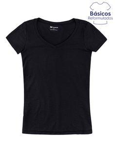 *********Blusa feminina em meia malha flamê com decote em v na cor preto em tamanho G. Blusa feminina elaborada em meia malha flamê que…