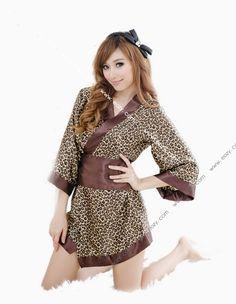 Lady Leopard Print Uniform Babydoll Lingerie G-string Nightwear Sleepwear Suit