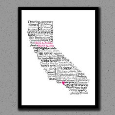 Valentines Day California Art Print Hearts with Faux Wood