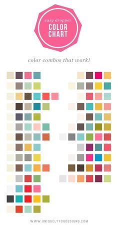 Color Chart - Color combos that work! Colour Schemes, Color Combos, Color Patterns, Good Color Combinations, Color Charts, Colour Palettes, Colour Board, Color Stories, Grafik Design