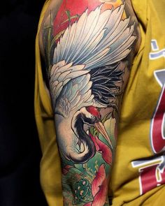 Asian Tattoos, Boy Tattoos, Sleeve Tattoos, Chinese Dragon Drawing, Heron Tattoo, Japanese Lotus, Tattoo Japanese Style, Tattoo 2015, Crane Tattoo