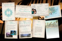 Vintage Passport Wedding Invitation set including old world map, accommodation details, identity page, main invitation and booking how-to.