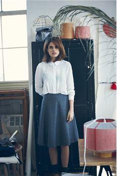 ana kras white shirt and midi skirt