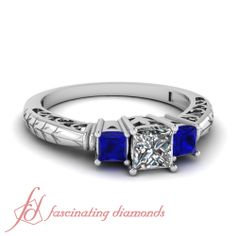 Impeccable Filigree Ring || Princess Cut Diamond Engagement Rings With Blue Sapphire In 14k White Gold