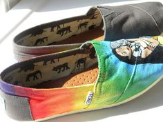 Pocahontas Rainbow Painted TOMS Shoes by TheGroovySunflower, $79.00  @Amanda Brooks you need these!