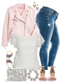 Plus Size Blush Biker Jacket Outfit - Plus Size Spring Summer Outfit - Plus Size Fashion for Women - alexawebb.com #alexawebb