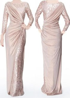 2017 Custom Made Pearl Pink Long Sleeves Mother Of Bride Evening Dresses Jewel Neck Elegant Glossy Floor Length Pleats Formal Prom Gowns Mothers Dress. Trendy Dresses, Elegant Dresses, Nice Dresses, Fashion Dresses, Dresses With Sleeves, Long Dress Formal Elegant, Lace Sleeves, Short Sleeves, Evening Dresses