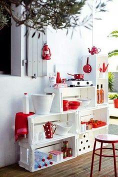 Caixotes de madeira #decoraciondecocinassencillas