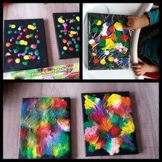 """Aus der Kreativwerkstatt Im www findet man die Idee der """"Folienbilder"""" immer hä… From the creative workshop In the www one finds the idea of the """"foil pictures"""" ever more frequently. Davina has her with her children and 4 years) … Diy And Crafts, Crafts For Kids, Sharpie Crafts, Painting Activities, Creative Workshop, Workshop Ideas, Toddler Art, Toddler Slide, Preschool Art"""