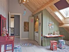 Colorful Interior Design in Eclectic Style Turned Old Farm House into Cozy Modern Home Kids Room, Colorful Interiors, Country Modern Home, Colorful Interior Design, Farmhouse Remodel, Attic Rooms, House Interior, Kids Bedroom, Old Farm Houses