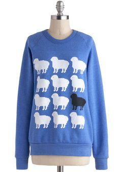 Only Ewe Sweatshirt - Blue, Black, White, Casual, Long Sleeve, Crew, Print with Animals, Mid-length