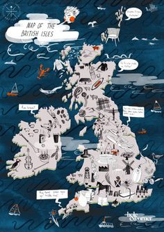 Charlotte Linton Craft Map of Britain for London Design Festival London Design Festival, Map Design, Travel Maps, Travel Themes, Graphic Design Illustration, Travel Illustration, British Isles, Cool Drawings, Handmade Crafts