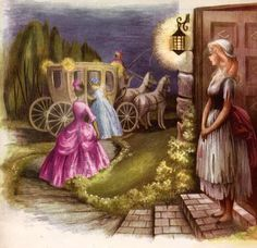 Illustrations by Ruth Ives for a 1954 edition of Cinderella
