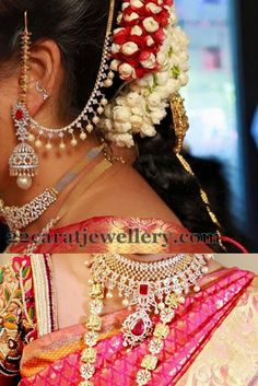 Jewellery Designs: Diamond Jhumkas and Earchains Indian Wedding Jewelry, Indian Bridal, Indian Jewelry, Bridal Jewelry, Gold Jewelry, Beaded Jewelry, Indian Jewellery Design, Jewelry Design, Diamond Jhumkas