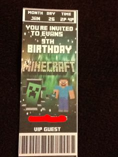 Printable Minecraft Invite  Minecraft Party Printables
