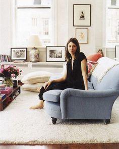 Sofia Coppola and a light blue English roll arm sofa. An idea for radiator cover.