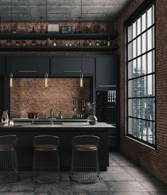 Architecture House City The best Luxury kitchen - Las mejores cocinas Wood Interiors, Industrial Interiors, Industrial Decorating, Industrial Chic Decor, Industrial Interior Design, Industrial Lamps, House Interiors, Industrial Furniture, Interior Design Photos