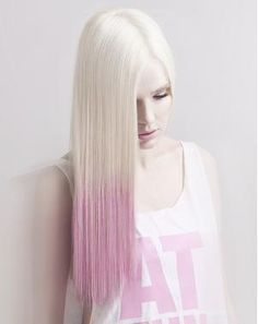 A long blonde straight coloured white multi-tonal hairstyle by Hair Milica