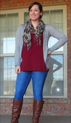 work it for me- skinny jeans, new bluey grey cardi, grey uggs, top, scarf Fall Winter Outfits, Autumn Winter Fashion, Winter Clothes, Winter Style, Preppy Style, My Style, Mature Fashion, Women's Fashion, Maroon Cardigan