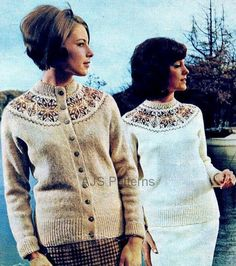 PDF Knitting pattern for  a Ladies Fair Isle Yoked Jumper and Cardigan Twin Set.