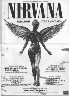 Nirvana I had tickets for the Cardiff show. Nirvana *and* Sebadoh on the same bill. Poster Wall, Poster Prints, Gig Poster, Poster Layout, Rock And Roll, Rock Band Posters, Plakat Design, Photocollage, Photo Wall Collage