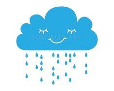 Vinyl Wall Decal Rain Cloud Large by AbbysVinylWallArt on Etsy