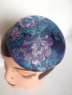 Blue Brocade Cocktail Hat Button Beret by ChefBizzaro on Etsy, $50.00