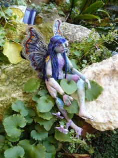 Fairy doll OOAK cloth body jointed blue by cherrycottagecrafts, £80.00  Originally pinned by Coral Gutierrez onto ETSY TEAMS Promotions