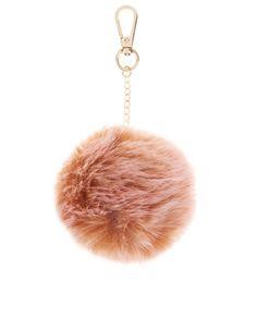 Two Tone Faux Fur Pom Pom Bag Charm | Pink | Accessorize