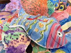 Center School Art: Paper Sculpture Fish by Grade 1