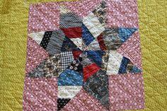 Scrappy star by http://quiltingstories.blogspot.com/2014/05/antique-star-scrap-quilt-ranunculus.html