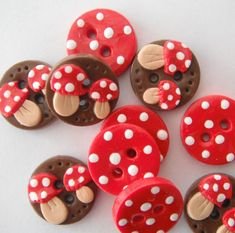 Button Tiny Toadstools handmade polymer clay 3/4 by digitsdesigns, $12.50